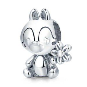 Boy Squirrel Silver Charm