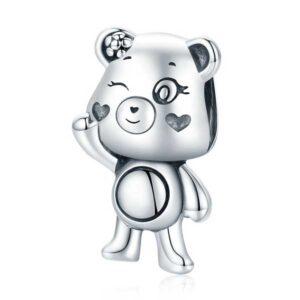 Playful Bear Silver Charm